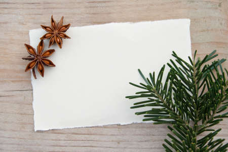 anis: anis, fir branch and paper on wooden ground Stock Photo