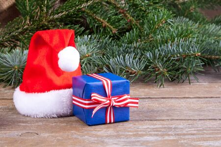 santa hat, present and fir branches Stock Photo - 17079092