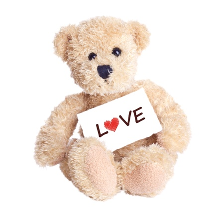 valentine s day teddy bear: teddy bear with lettering love Stock Photo