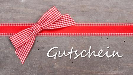 BERPRüft roten Schleife mit Schriftzug Gutschein Standard-Bild - 17783239