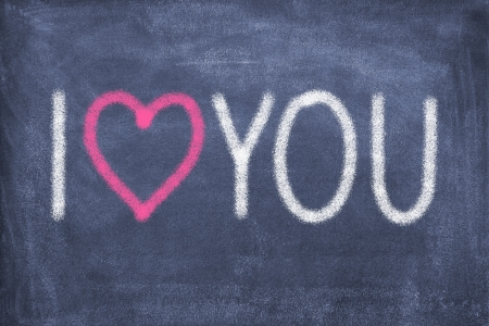 Blackboard with lettering I love you photo