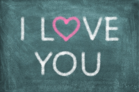 i love you: Blackboard with lettering I love you