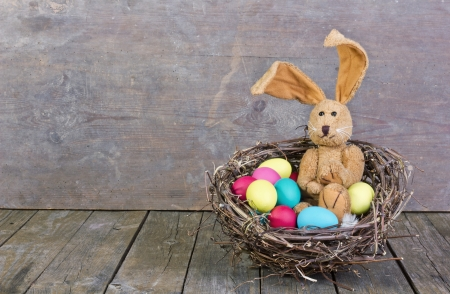 easter bunny in a nest with easter eggs