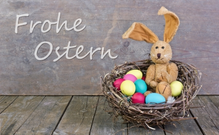 easter card with easter bunny and easter eggs photo