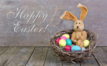 easter nest: easter card with easter bunny and easter eggs