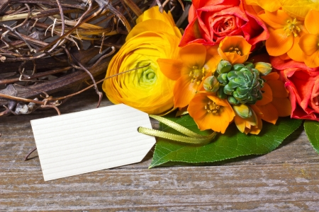 flowers and white trailer on wooden ground Stock Photo - 18217397