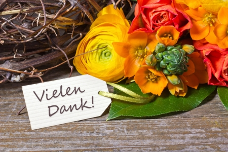 flowers and white card  with lettering thanks Stock Photo - 18304764