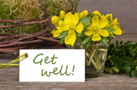 get well: yellow flowers, twigs and card with lettering get well Stock Photo