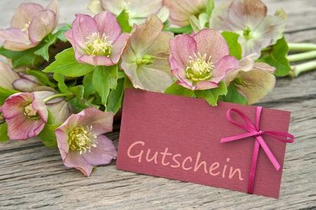 flores de cumpleaños: flores de color rosa con tarjeta de regalo