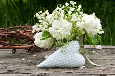 glas: muguet, snowball and heart Stock Photo