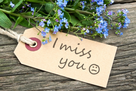 blue you: blue flowers and  label with lettering miss you Stock Photo