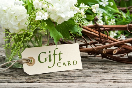 muguet: lily of the valley, snowball and gift card Stock Photo