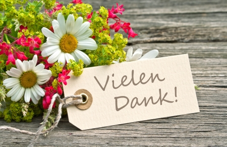flowers and label with lettering thanks Stock Photo