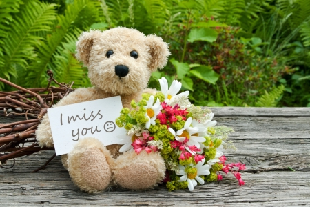 miss you: teddy bear with flowers and card with lettering miss you Stock Photo