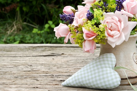 pink roses and lavender and heart roses photo