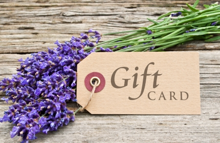 lavender and gift card Stock Photo