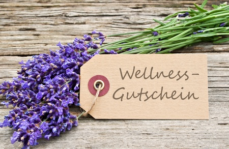 sabbatical: lavender and label with lettering wellness voucher Stock Photo
