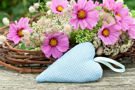 pink flowers with heart photo