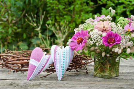 pink flowers and two heart photo