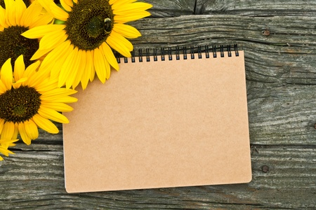 sunflowers and note book on wooden table Stok Fotoğraf - 21719884