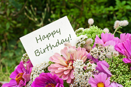 pink flowers and birthday card Banco de Imagens