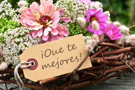 get well: pink flowers and card with lettering get well Stock Photo