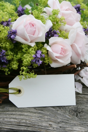 pink roses, lavender and label