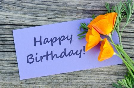 Birthday card with poppy
