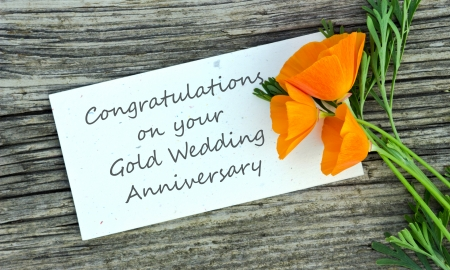 gold wedding anniversary card with orange flowers