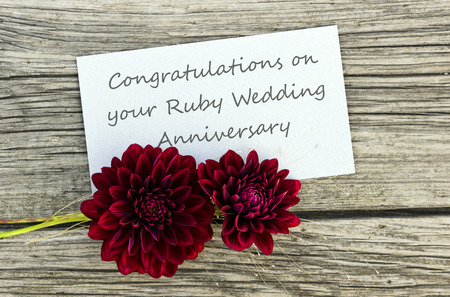 Ruby wedding anniversary card with red flowers