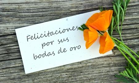 aniversario de boda: bodas de oro tarjeta de aniversario con flores de color naranja