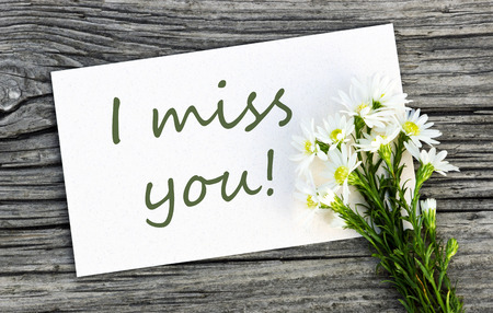 i miss you: White card with white flowers and lettering I miss you