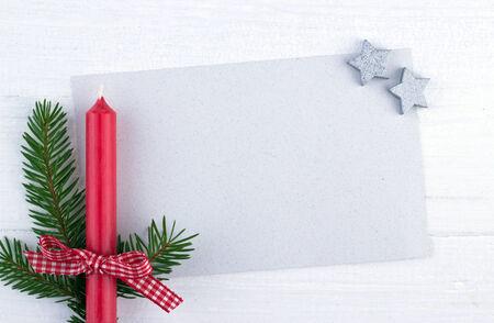 rote Kerze, Feuer Zweig und Karte