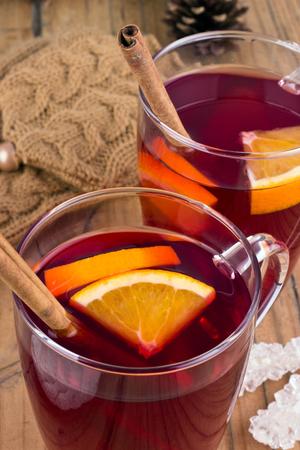 Fruit tea with orange and cinnamon photo