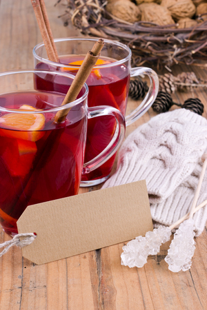 Fruit tea with orange and cinnamon photo