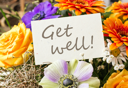 get well: bouquet with roses, gerbera  and anemones with card