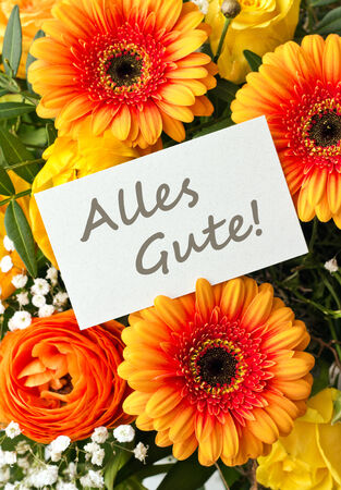 buttercups: bouquet with gerbera  and buttercups with card Stock Photo