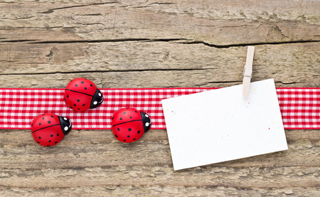 ladybugs and card on wooden board Reklamní fotografie - 26349832