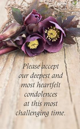 condolence card  with dark christroses 写真素材