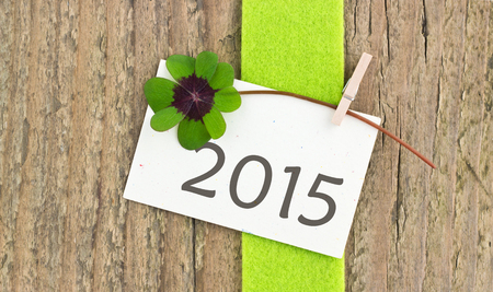 leafed: new year card with leafed clover Stock Photo