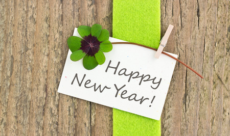 new year card with leafed clover Stock Photo