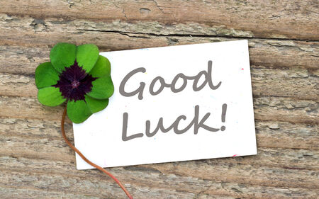 card good luck  with leafed clover