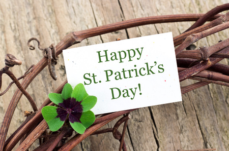 St  Patrick s day card with leafed clover Stock Photo