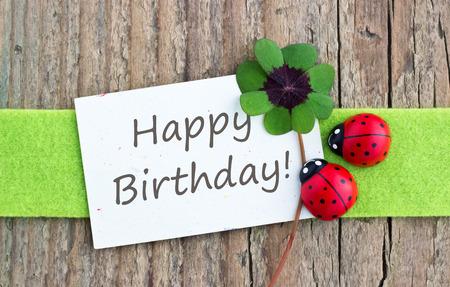 Geburtstagskarte mit Glücksklee und Marienkäfer Standard-Bild