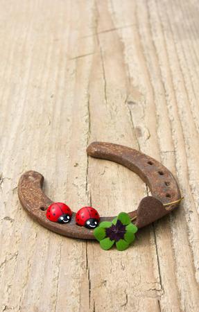 blissful: horseshoe with ladybugs and lucky clover