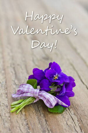 Valentin s Day Card with violets Stock Photo