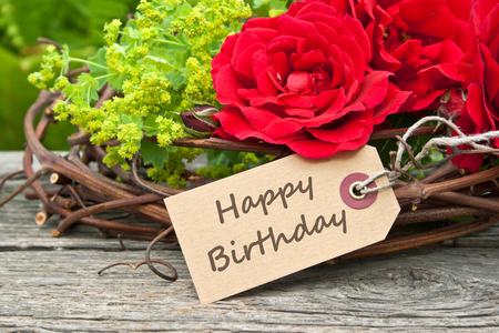 birthday card with red roses Фото со стока