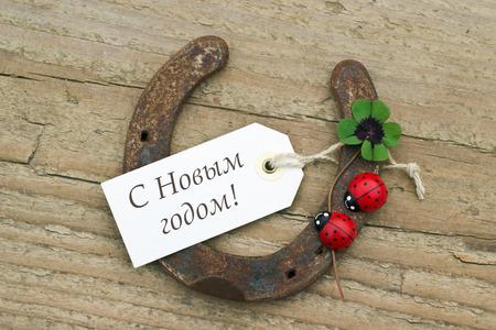 New Years Card with horseshoe, Leafed clover and ladybugs photo