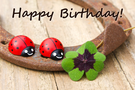 Birthday Card with horseshoe, Leafed clover and ladybugs
