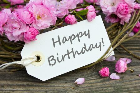 Geburtstagskarte mit rosa Blüten